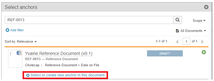 select or create a new anchor in the document