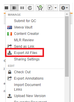 export all files option to export a document with all references